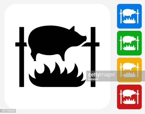 Roasting Pig Icon Flat Graphic Design