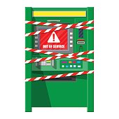 Robbed atm with warning ribbons