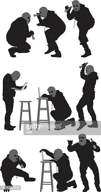 Robber in various actions