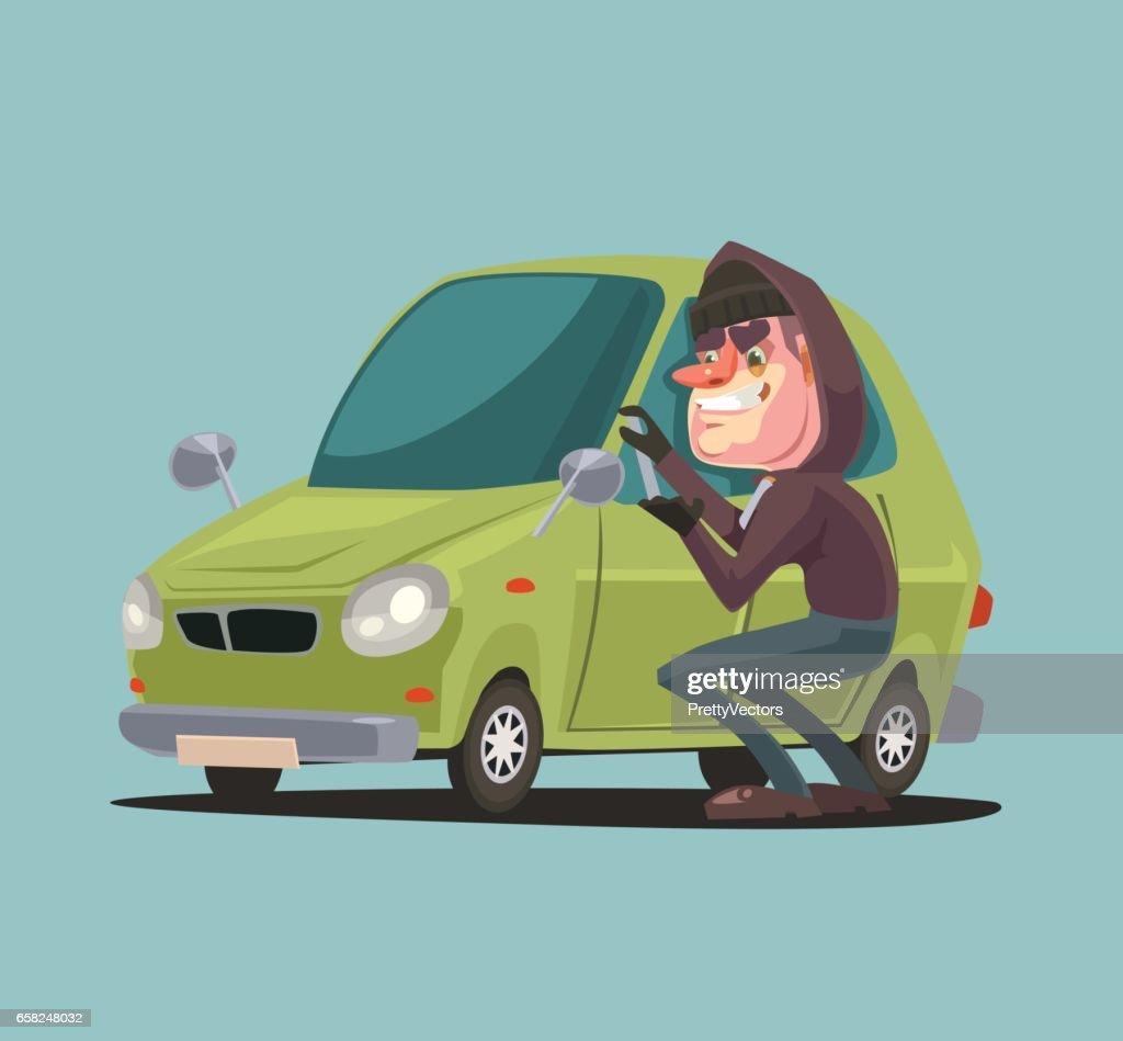 Robber man character steals and breaking car door