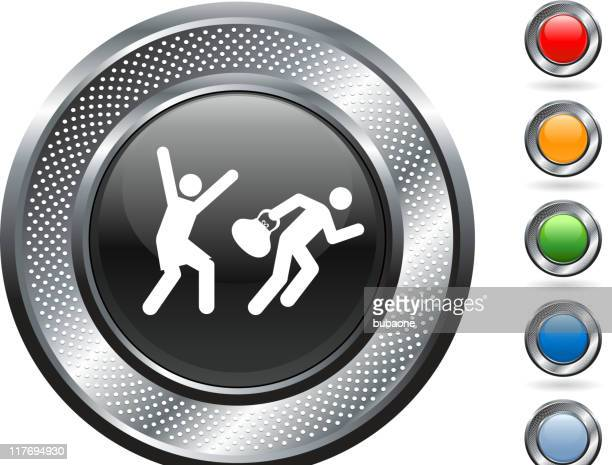 robbery royalty free vector art on metallic button