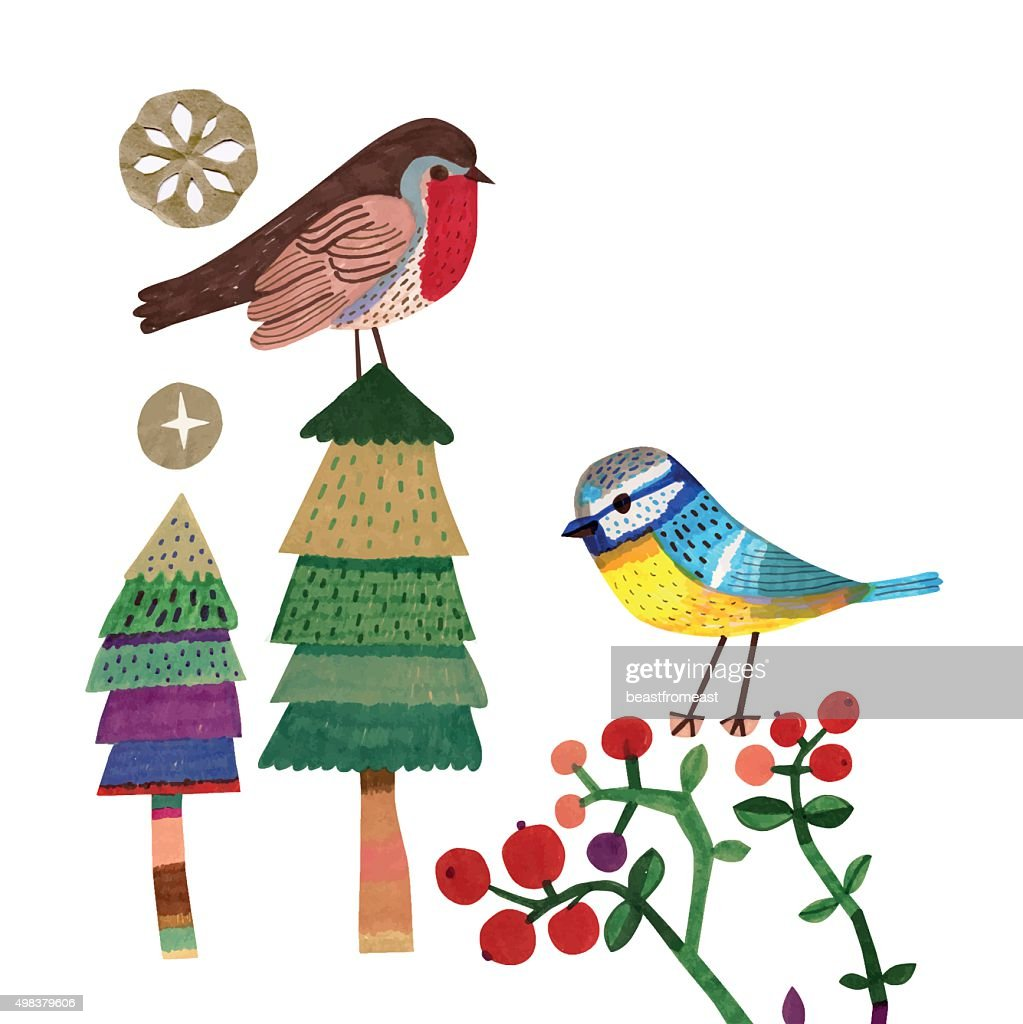 Robin and Bluetit on Christmas trees and Cranberry plants : stock illustration