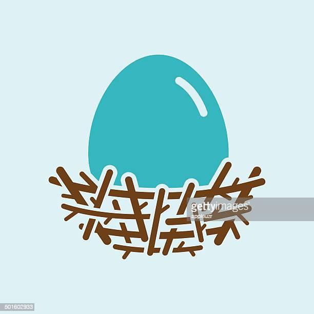 stockillustraties, clipart, cartoons en iconen met robin egg in nest - dierennest