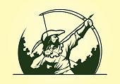 Robin Hood Medieval Archer Mascot Icon