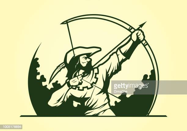 Robin Hood Medieval Archer Mascot Icon