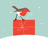 Robin with Christmas Gift