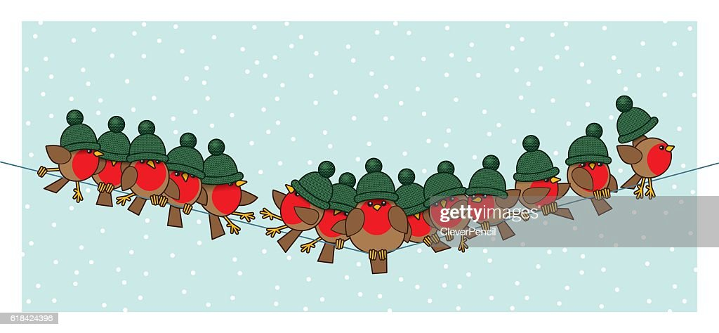 Robins wearing Green Woolly Bobble Hats on Telephone Wire