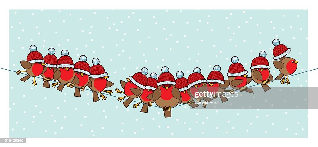 Robins wearing Red Santa Woolly Bobble Hats on Telephone Wire