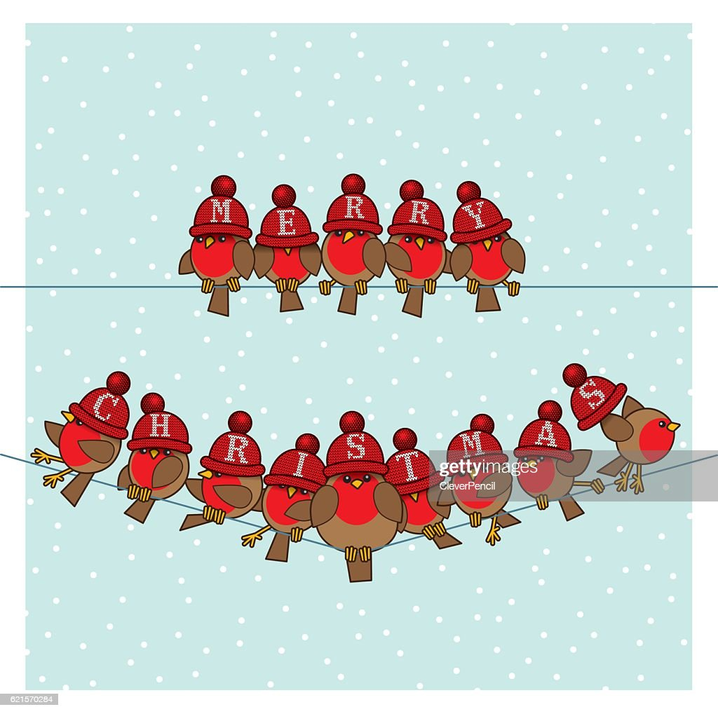 Robins wearing Red Woolly Bobble Hats on two Telephone Wires