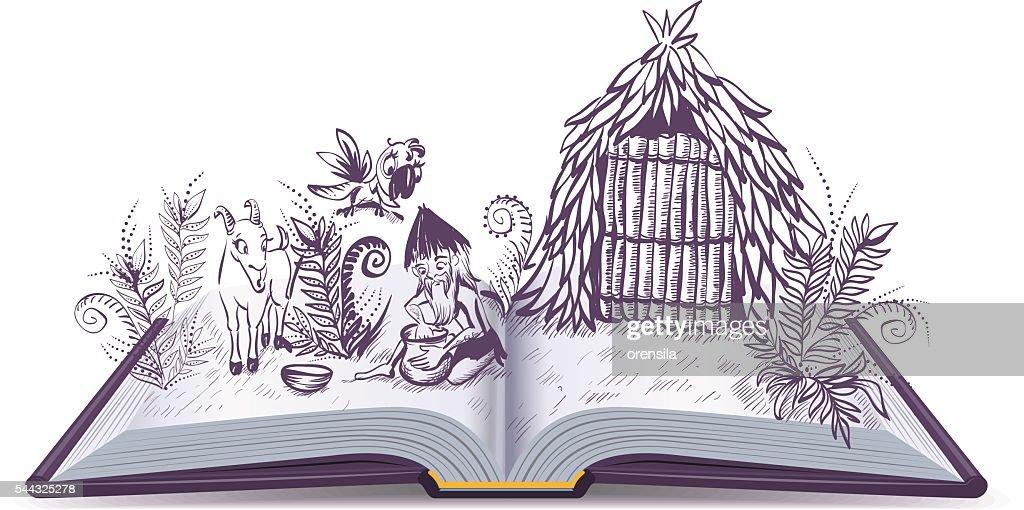 Robinson Crusoe on desert island. Open book adventure