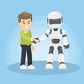 Robot and human shaking hand.