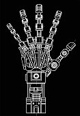 Robot arm. This vector illustration be used as an illustration of robotics ideas, artificial intelligence, bionic prostheses, science, engineering development, high-tech