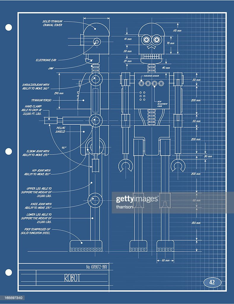 Robot blueprint vector art getty images robot blueprint vector art malvernweather Images