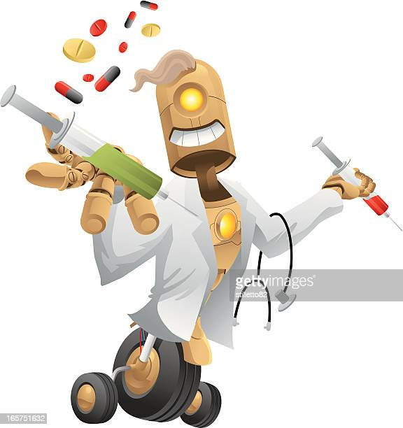 robot doctor - operating gown stock illustrations, clip art, cartoons, & icons