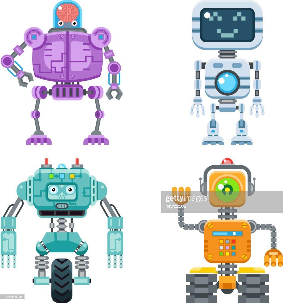 Robot flat icons vector set