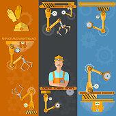 Robot hands and conveyor vertical banners industrial robot