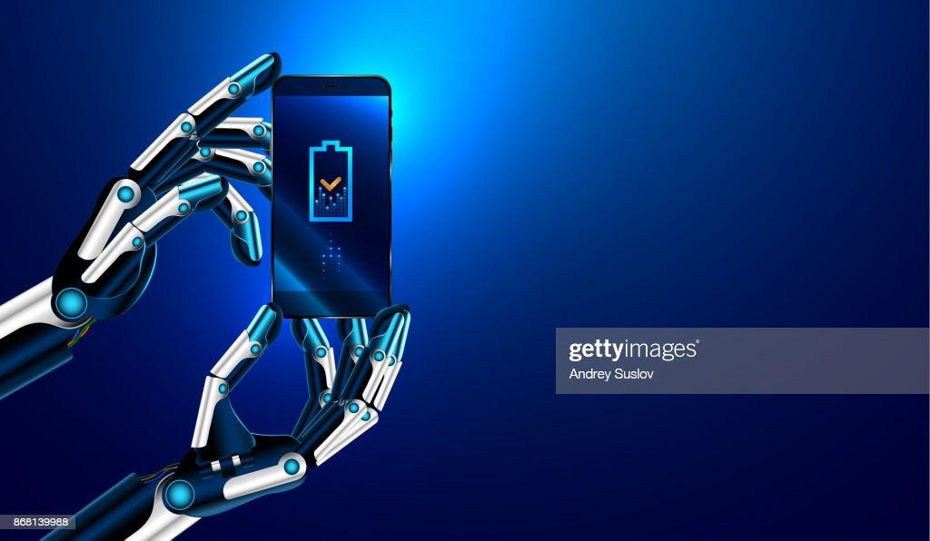 Robot hands holding a smartphone