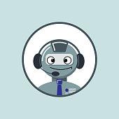 robot head in headphone
