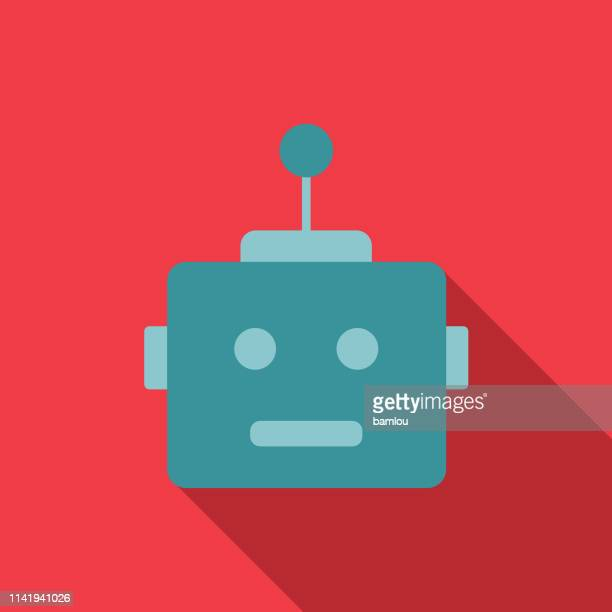 robot head with antenna colorful background icon - robot stock illustrations
