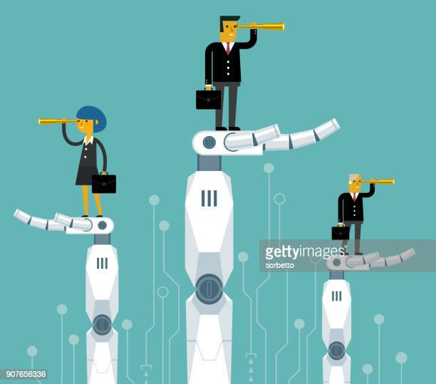 Robot holding a business person
