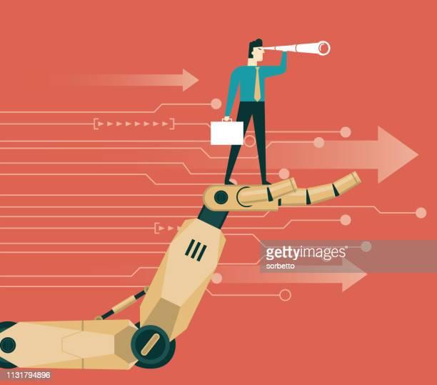 ilustraciones, imágenes clip art, dibujos animados e iconos de stock de robot sosteniendo un empresario - proyección