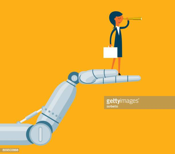 robot holding a businesswoman - fate stock illustrations