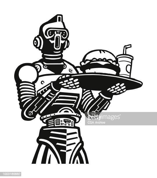 Robot Holding a Tray with a Hamburger and Soft Drink