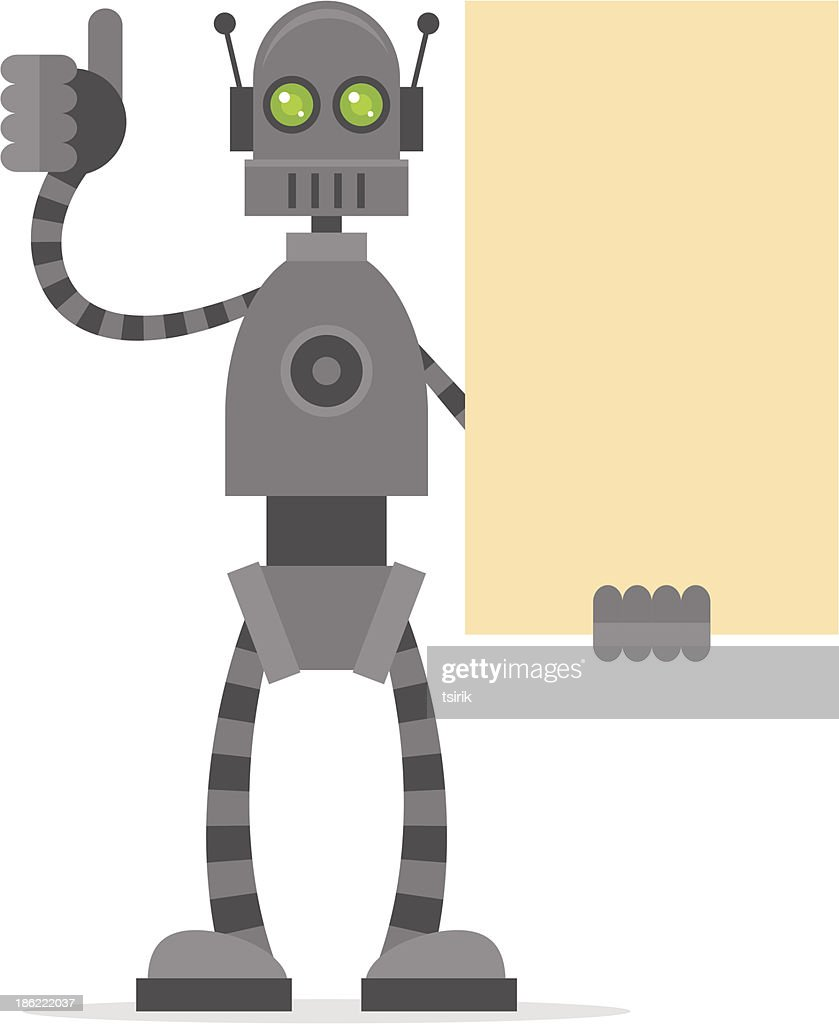 Robot holding blank poster showing thumbs up