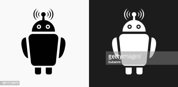 Robot Icon on Black and White Vector Backgroundss Icon on Black and White Vector Backgrounds