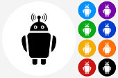Robot Icon on Flat Color Circle Buttons