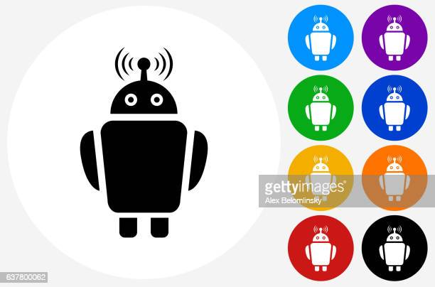 ilustraciones, imágenes clip art, dibujos animados e iconos de stock de robot icon on flat color circle buttons - azul marino