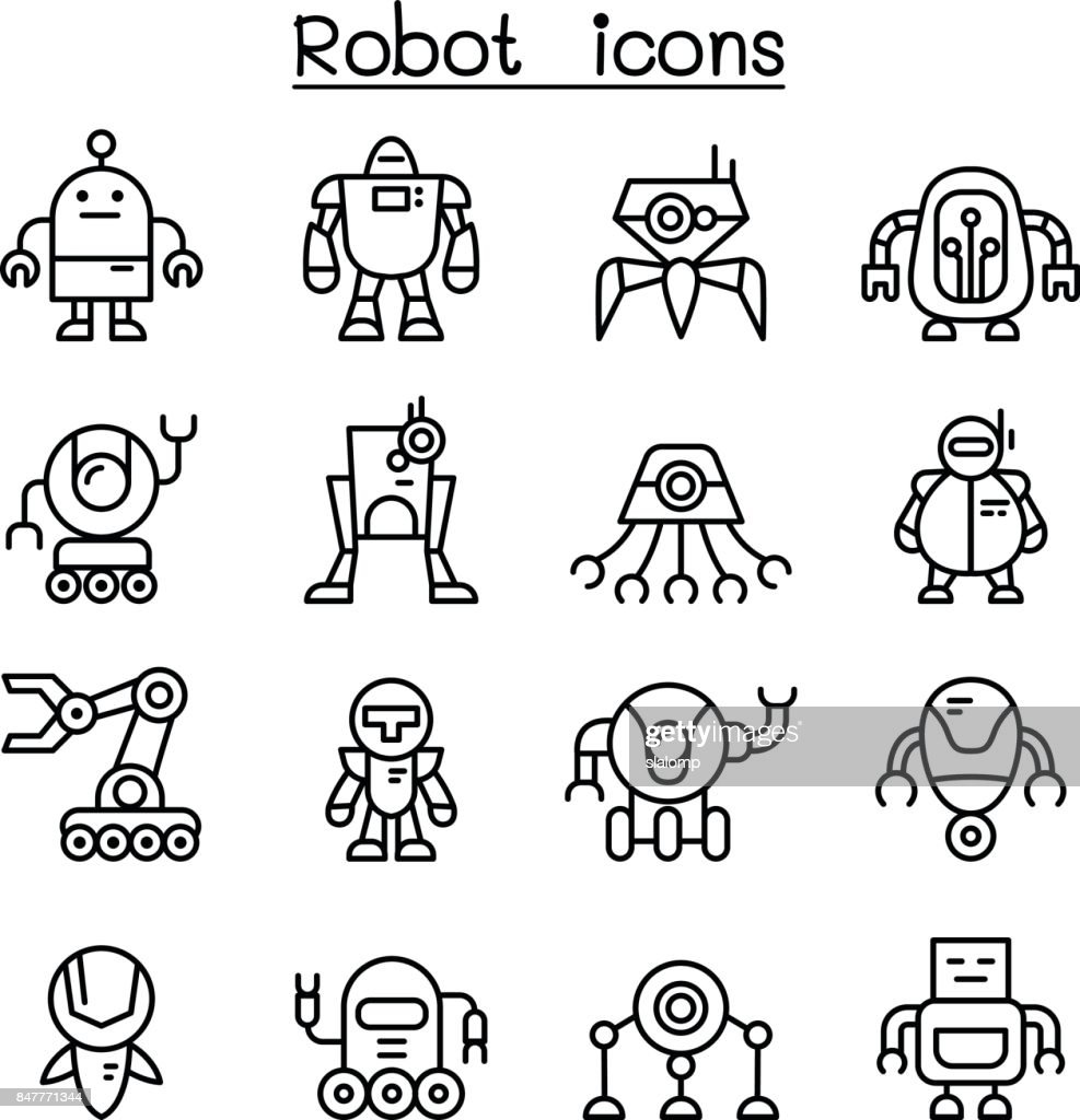 Robot icon set in thin line style
