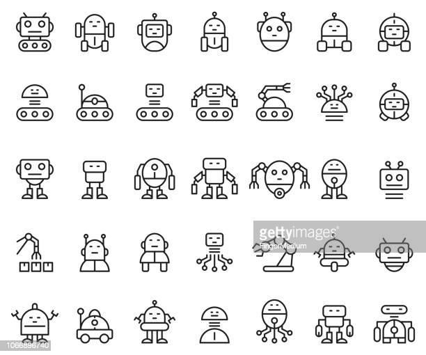 ilustraciones, imágenes clip art, dibujos animados e iconos de stock de conjunto de iconos de robots - robot
