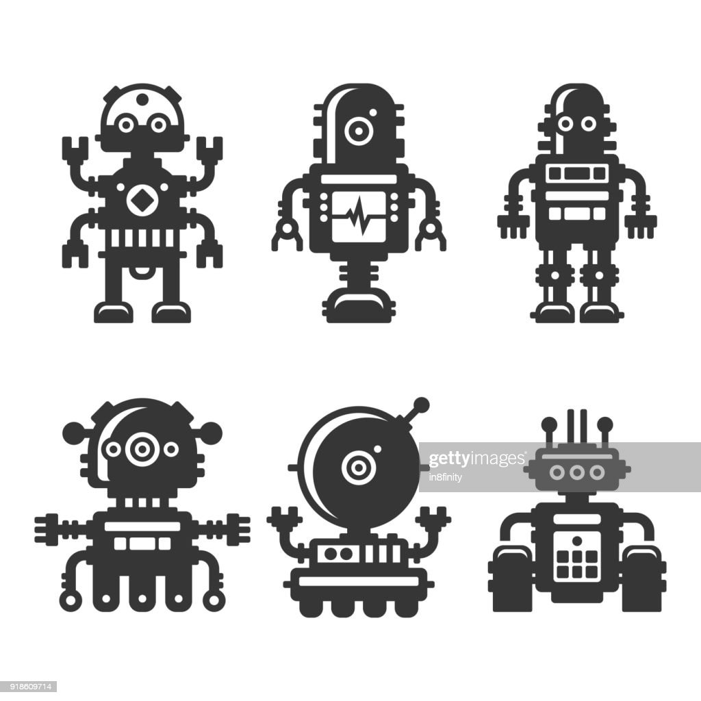 Robot Icons Set on White Background. Vector