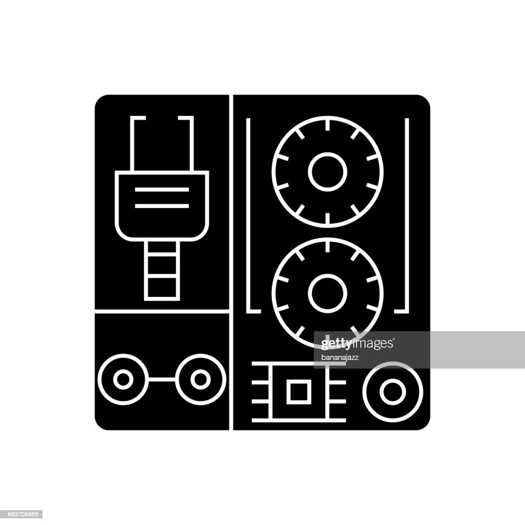 robot industrial kits icon, vector illustration, black sign on isolated background