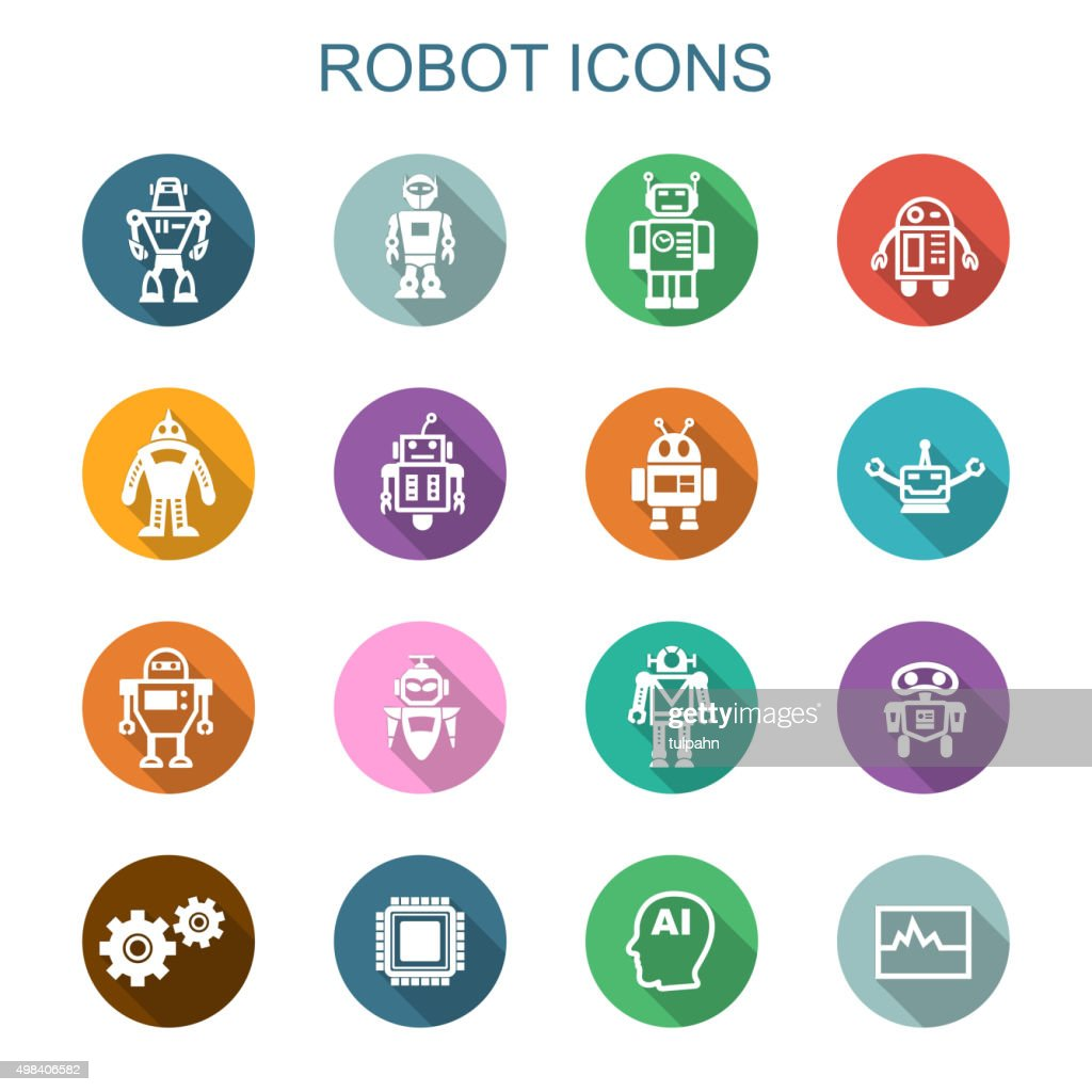 robot long shadow icons