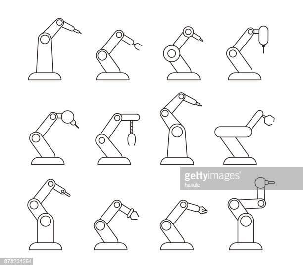 robot maschine arm symbole, vektor-illustration - automatisiert stock-grafiken, -clipart, -cartoons und -symbole