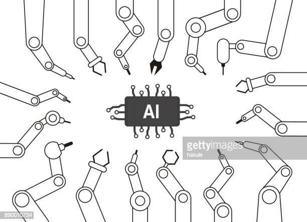 robot machine arms focus on the Artificial Intelligence, vector illustration