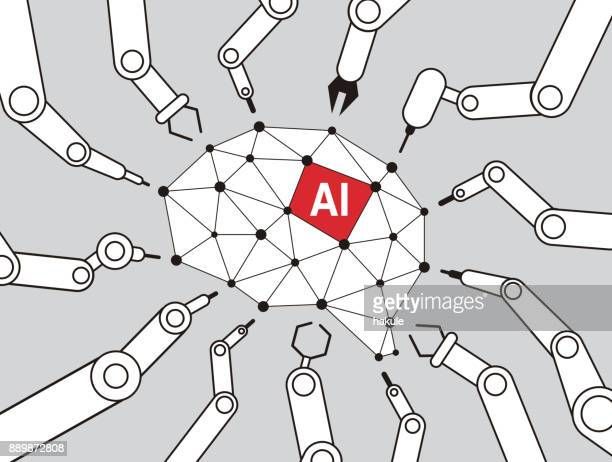 robot machine arms focus on the brain of the artificial intelligence, vector illustration - neurosurgery stock illustrations, clip art, cartoons, & icons
