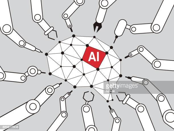 人工知能、ベクトル図の脳に焦点を当てる機械アーム - ロボット手術点のイラスト素材/クリップアート素材/マンガ素材/アイコン素材