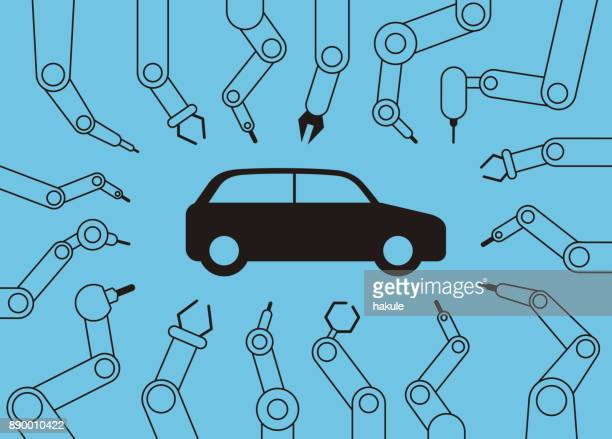 robot machine arms get together focus on the car, Automatic factory