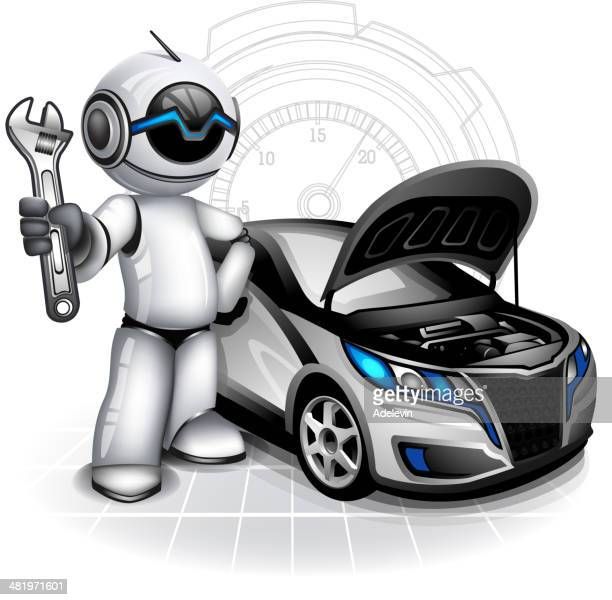 robot mechanic - vehicle hood stock illustrations, clip art, cartoons, & icons