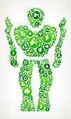 Robot Nature and Environmental Conservation Icon Pattern