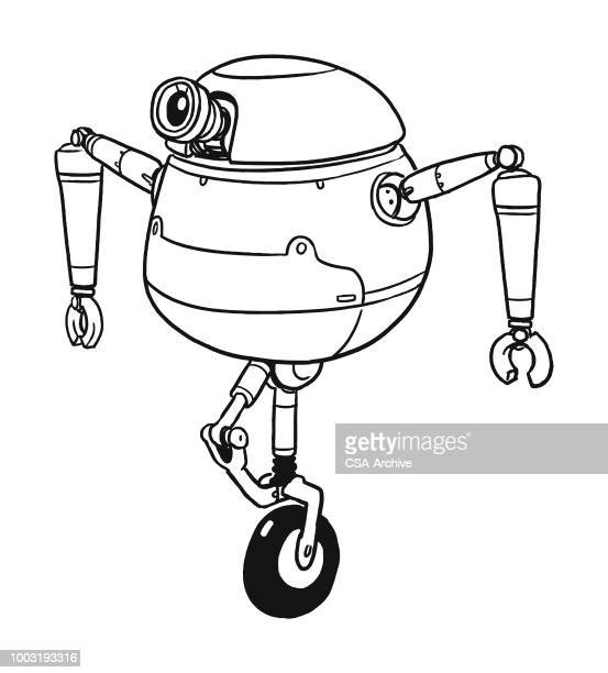 robot on a unicycle - unicycle stock illustrations, clip art, cartoons, & icons