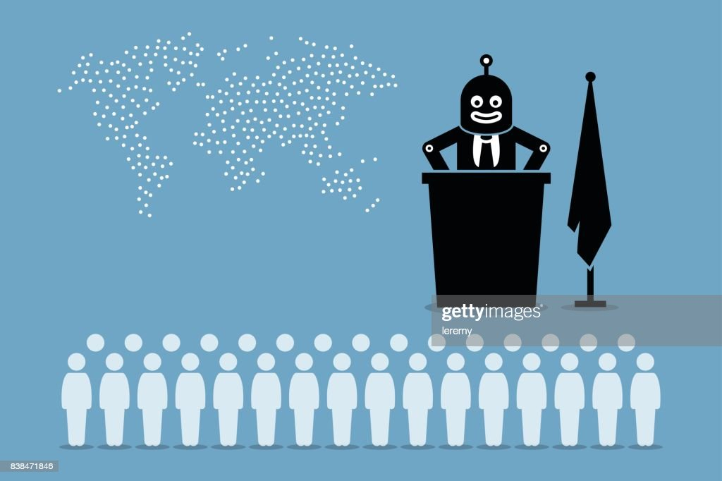 Robot president and artificial intelligent government controlling the country and world from human.