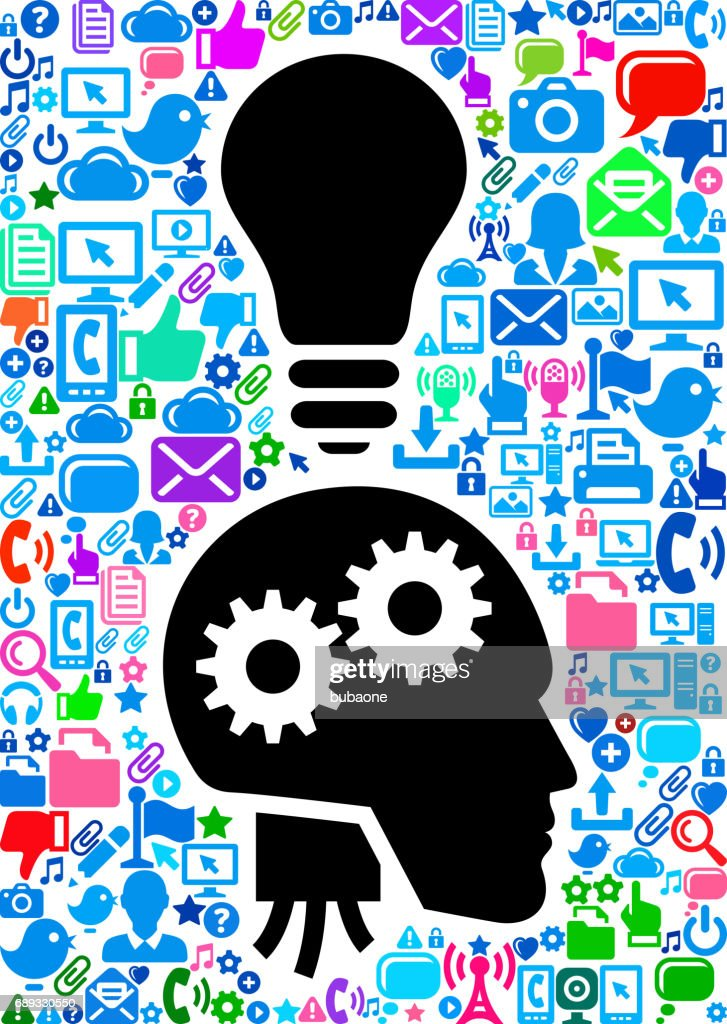Robot Profile Gears Technology Web Vector Background Pattern : Stock Illustration