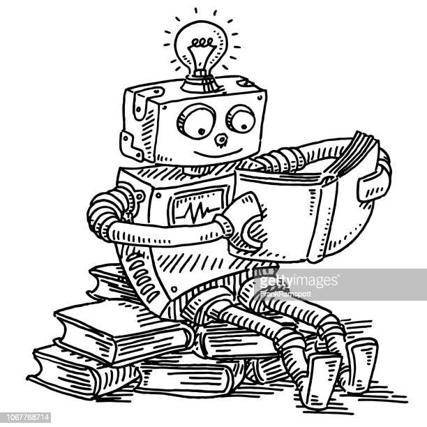 robot reading a book machine learning concept drawing - machine learning stock illustrations