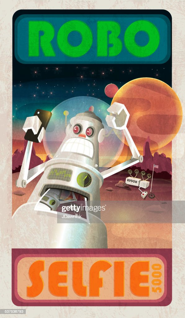Robot selfie and mars or outerspace scene poster