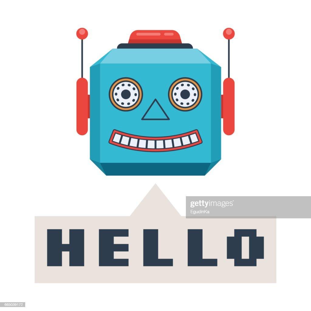 Robot smiles and speech bubble Hello
