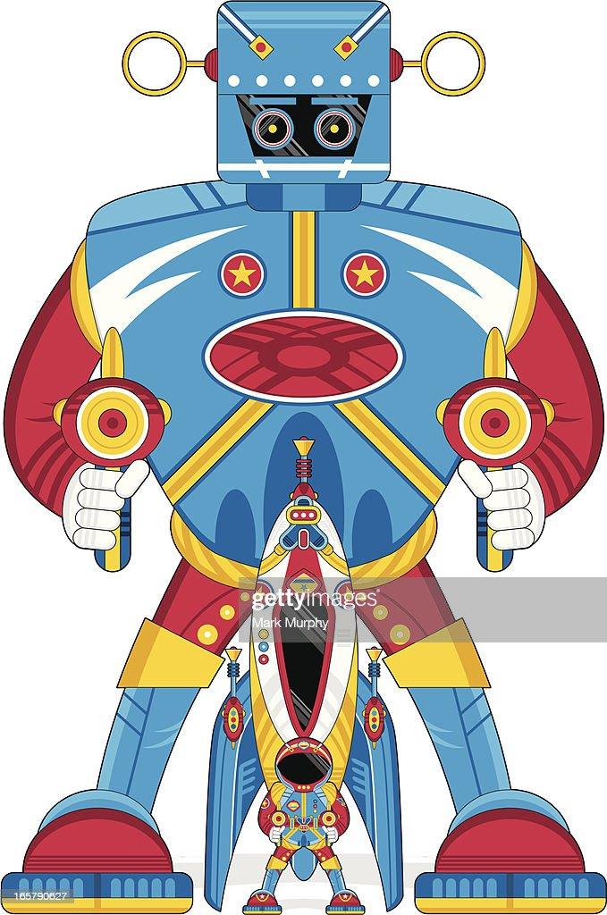 Robot Spaceman & Rocket Ship : stock illustration